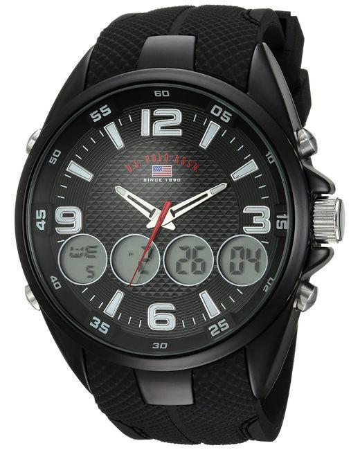 U.S. POLO ASSN. Black Analog-quartz Watch With Rubber Strap for men