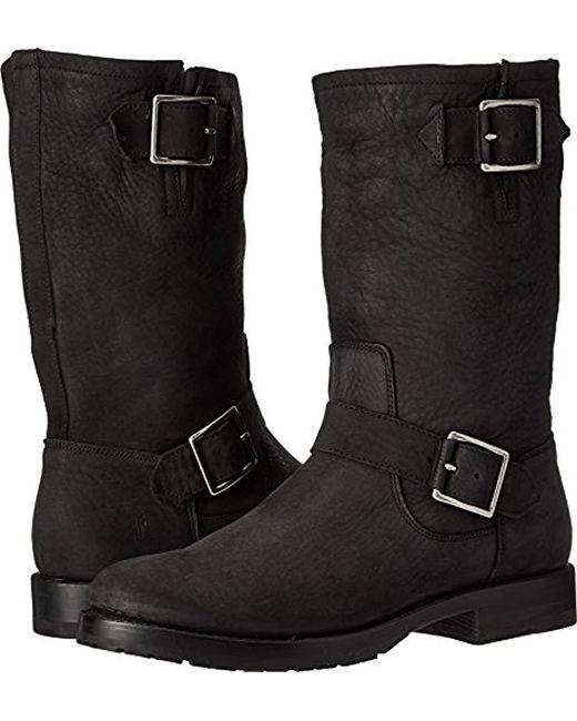 Frye Black Natalie Mid Engineer Boot