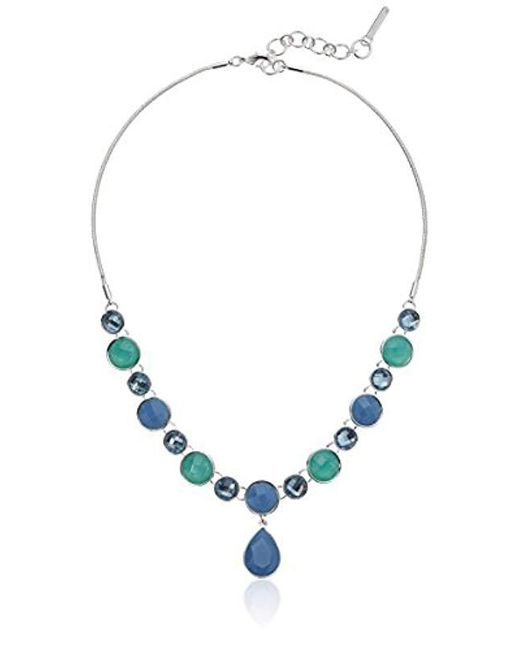 """Nine West - S Silver-tone And Blue 16"""" Y Shaped Necklace - Lyst"""