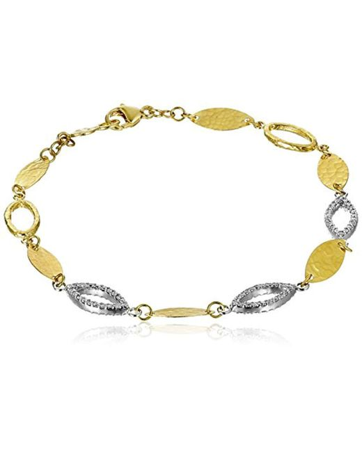 """Gurhan - Metallic """"willow"""" Gold And White Diamond Single Strand Linear Bracelet (1/2cttw, H-i Color, Si2-i1 Clarity) - Lyst"""