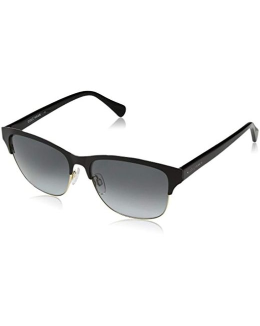 Cole Haan Black Ch7010 Metal Clubmaster Oval Sunglasses, 55 Mm