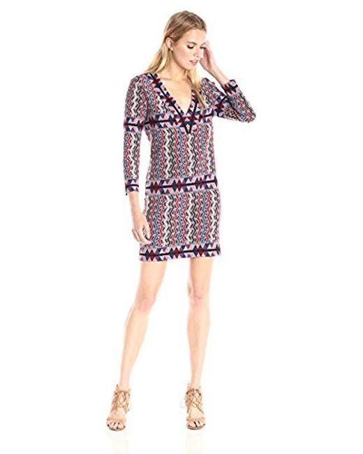 BCBGMAXAZRIA Red Bcbgmax Azria Belle V-neck Knit City Dress