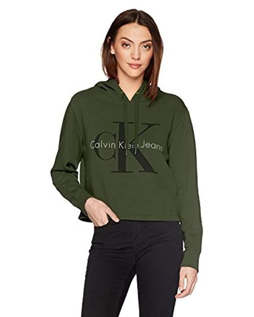 Calvin Klein - Green Jeans Monogram Logo Hoodie Sweatshirt - Lyst