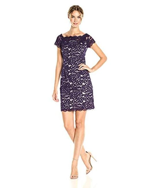 Off The Shoulder Lace Sheath Dress With Contrast Lining