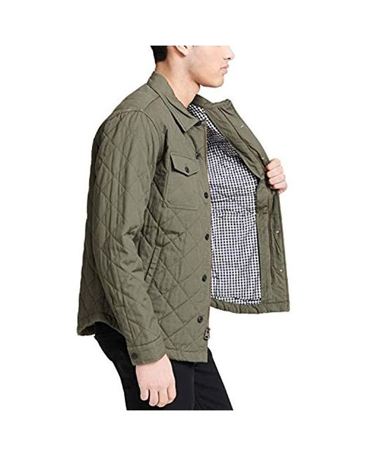 Mens Green Cotton Diamond Quilted Shirt Jacket