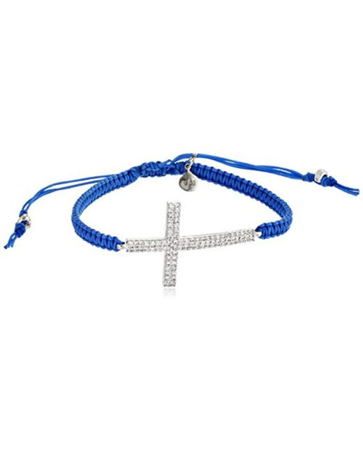 "Tai - Blue Braided Cord With Large Cross Bracelet, 2.5"" - Lyst"