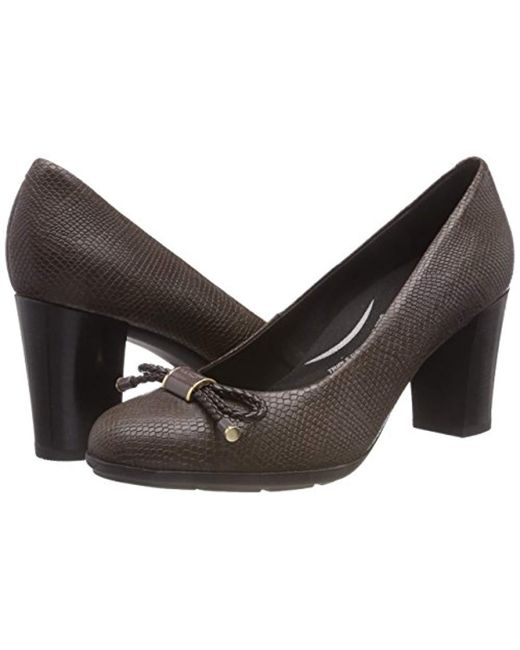 Geox Leather D Annya A Closed toe Pumps in Chestnut (Brown
