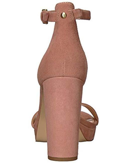 c208ffa6b041 Lyst - Nine West Dempsey Suede Heeled Sandal Pink