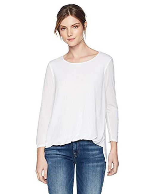 Three Dots - White Loose Short Top - Lyst