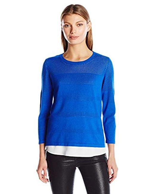 Calvin Klein - Blue Perforated Sweater 2-fer - Lyst