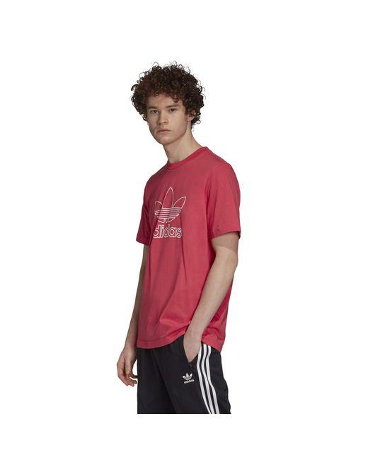 Adidas Originals Mens Outline Trefoil Logo T-shirt Power Pink Small for men