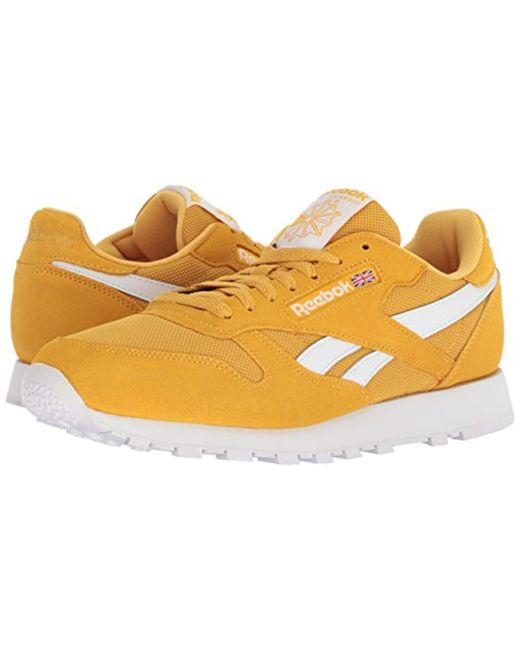 3264cca025 Lyst - Reebok Classic Leather Walking Shoe, Estl-fierce Gold/white ...