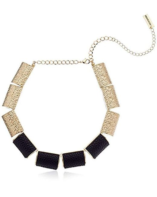 "Steve Madden - Metallic Leather Bar Necklace, 16"" + 3"" Extender - Lyst"