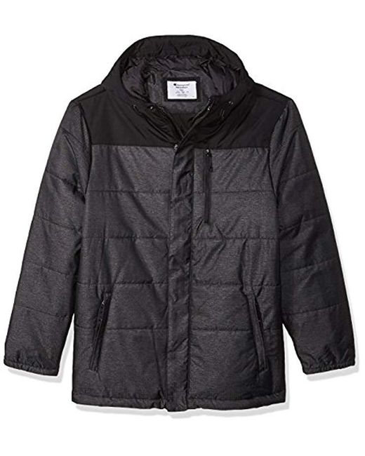 Champion - Black Tall Size Tech Herringbone Quilted Puffer With Hood for Men - Lyst