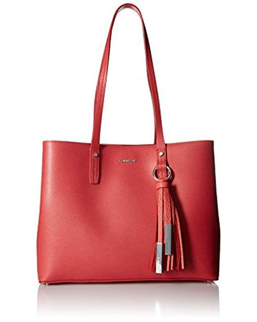 Calvin Klein - Red Maggie Mercury Leather East/west Tote - Lyst
