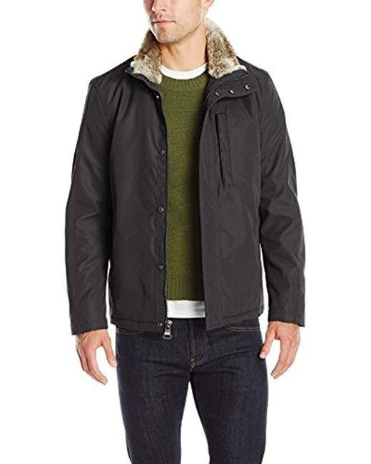 Marc New York - Black Kips Bay City Rain Jacket With Faux Fur Trim Collar for Men - Lyst