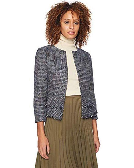Nine West - Multicolor Jewel Neck Tweed Kiss Frnt Jkt With Bottom Ruffle Detail - Lyst