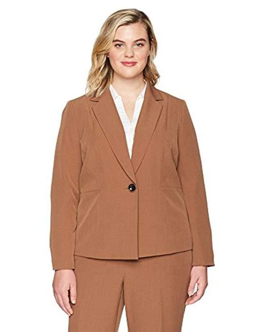 Kasper - Brown Plus Size Stretch Crepe Notch Lapel 1 Button Jacket - Lyst