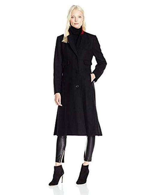 "Jones New York - Solid Black Wool 45"" Length Coat W/contrast Red Trim - Lyst"