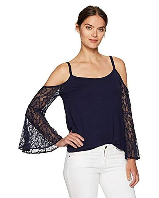 Kensie Blue French Terry Cold Shoulder Sweatshirt With Lace Sleeves