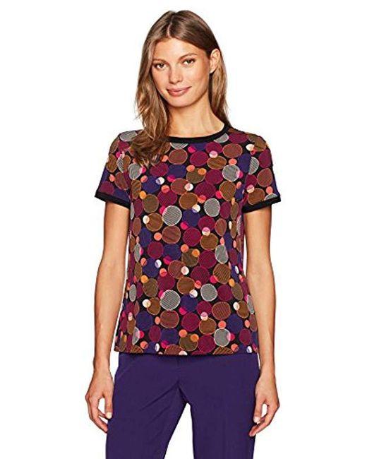 Anne Klein - Multicolor Short-sleeve Button-back Top - Lyst