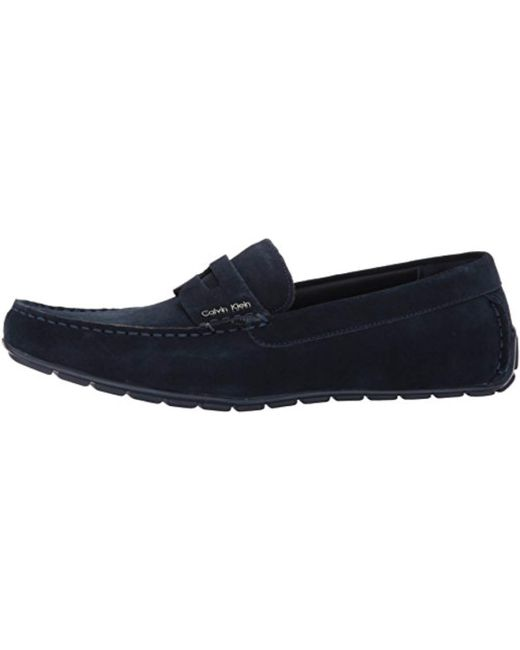 b9b80434217 ... Calvin Klein - Blue Ivan Calf Suede Slip-on Loafer for Men - Lyst ...