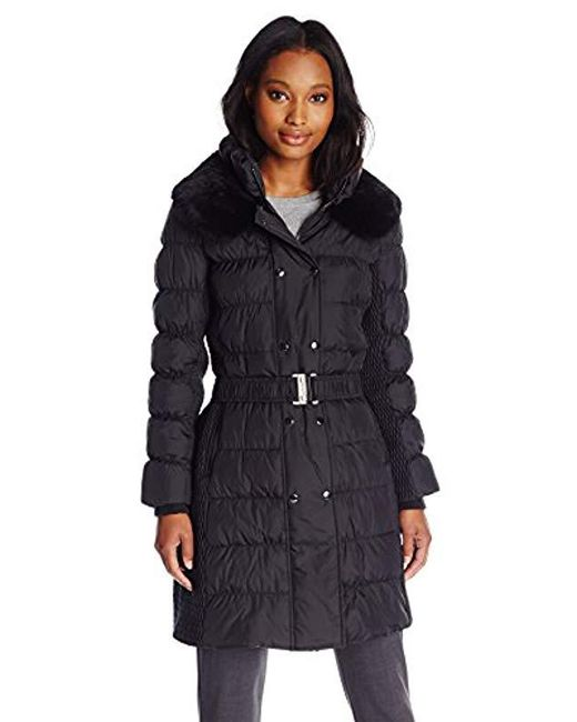 Via Spiga Black Belted Down Coat With Slimming Side Ruched Details