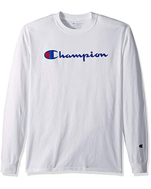 b3744af607f5 Champion - White Classic Jersey Long Sleeve Script T-shirt for Men - Lyst