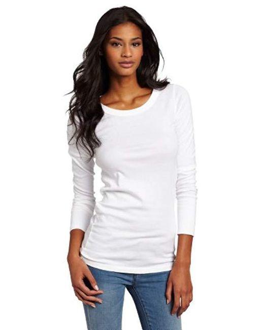 Michael Stars White Supima Long-sleeve Raw-edge Banded Crew-neck T-shirt