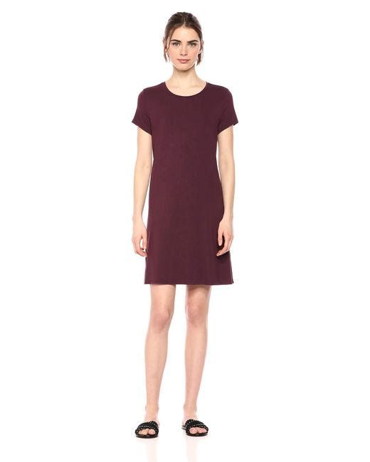 Vestido de manga corta holgado con cuello redondo para mujer Amazon Essentials de color Purple