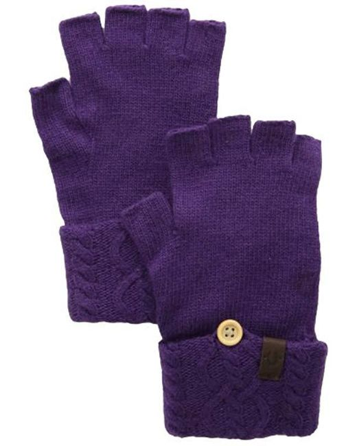 True Religion - Purple Cable Knit Fingerless Glove - Lyst