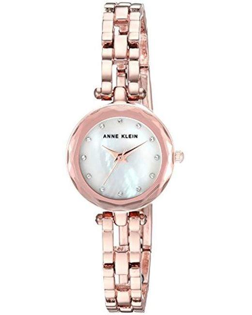 ede0d3089 Anne Klein - Metallic Swarovski Crystal Accented Rose Gold-tone Open Bracelet  Watch - Lyst ...