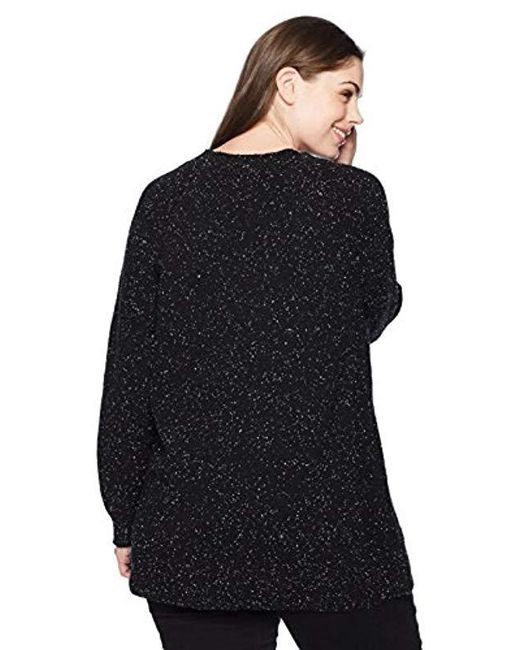 Plus Size Flecked Lace Up Sweater