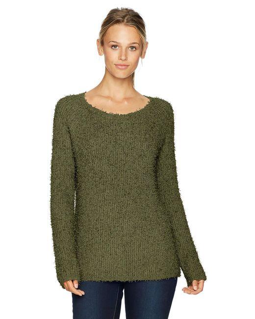 BB Dakota Green Shyla Eyelash Fuzzy Pullover Sweater