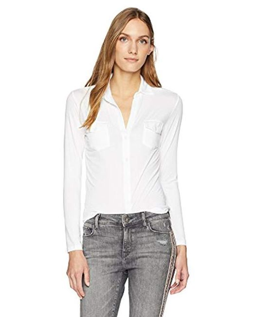 Majestic Filatures - White Extrafine Long Sleeve Button Chemise - Lyst