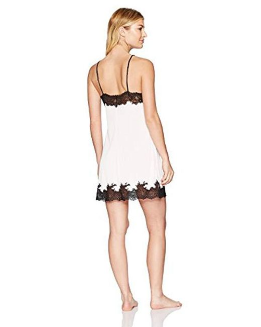 Lyst - Natori Enchant Solid Slinky Chemise With Lace in Pink - Save 20% ef9facc5e