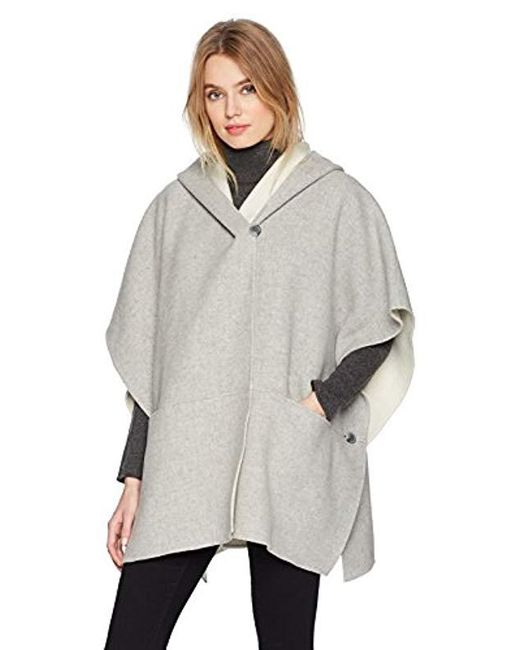 Halston Heritage - Gray Double Faced Poncho Coat - Lyst