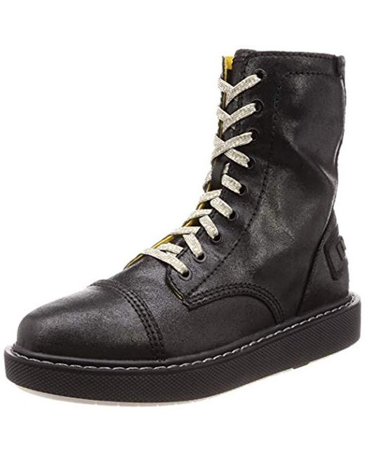DIESEL Black D-cage Dbb Leather-ankle Boot Fashion for men