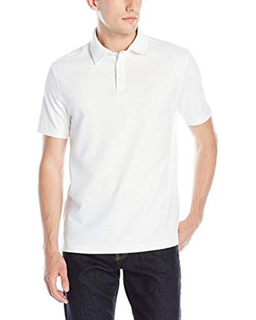 bf342b56 Izod - White Short-sleeve Feeder-stripe Interlock Polo Shirt for Men - Lyst  ...