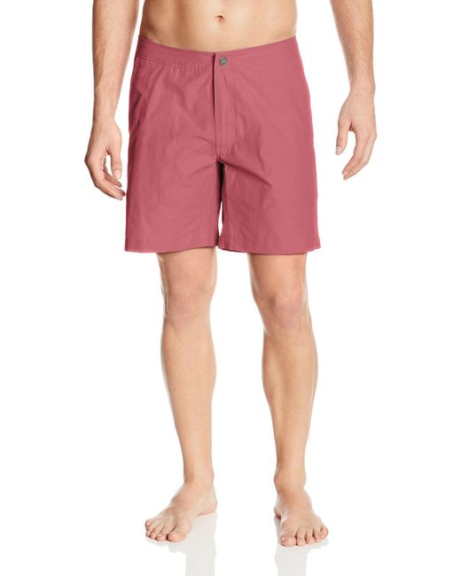 Onia Red Calder 7.5 Inch Solid Swim Trunk for men