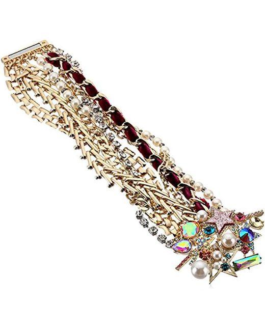 Betsey Johnson - Metallic Colorful Stone And Stone Statement Bracelet - Lyst