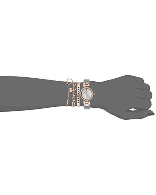 Women S Metallic Swarovski Crystal Accented Rose Gold Tone And Silver Tone Mesh Watch And Bracelet Set Ak 3425rtst