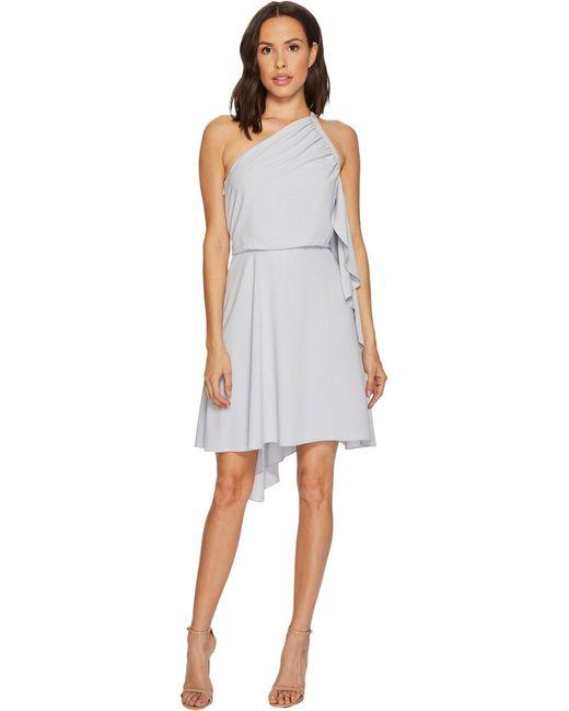 Halston Heritage Gray One Shoulder Dress With Smocking Detail