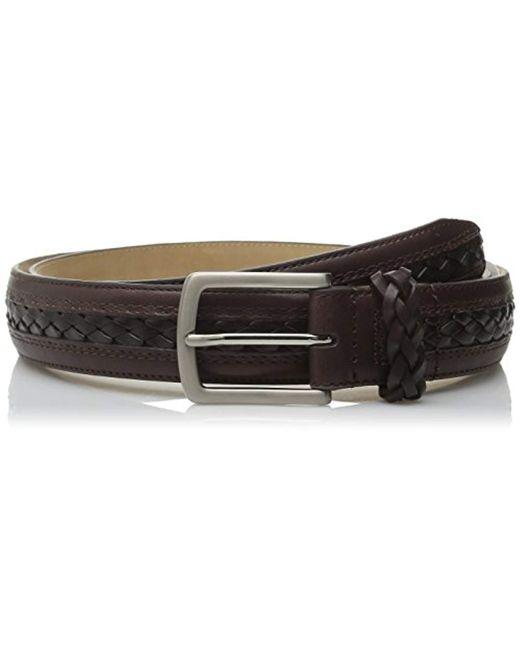 Tommy Bahama Brown Leather Braid Belt for men