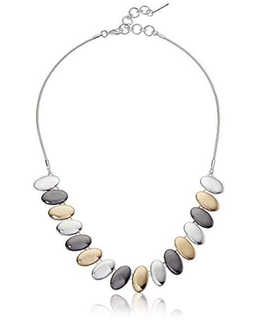 "Nine West - Multicolor Tri-tone 16"" Frontal Necklace, Size 0 - Lyst"