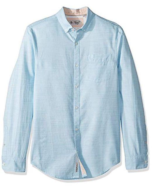Original Penguin - Blue Long Sleeve Mini Stripe Cotton Linen for Men - Lyst