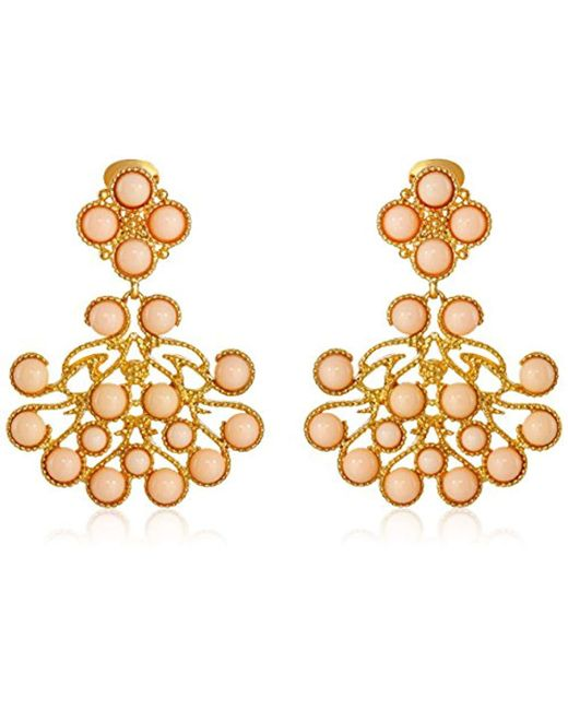 Kenneth Jay Lane - Metallic Gold-plated Cabochon Clip-on Earrings - Lyst