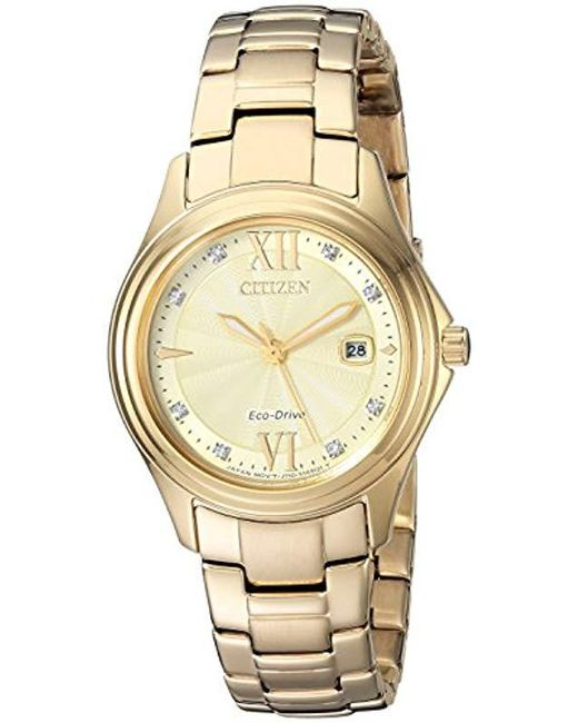 Citizen Metallic Quartz Stainless Steel Casual Watch, Color:gold-toned (model: Fe1132-84p)