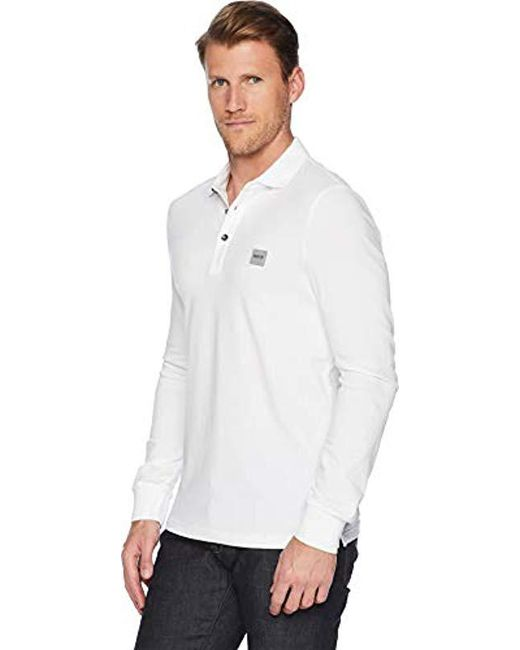 d1fed2ce ... BOSS - White Passerby Long Sleeve Polo With Chest Logo Patch for Men -  Lyst ...