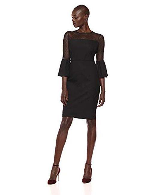 c7bcd6609c1 Eliza J - Black 3 4 Ruffle Sleeve Sheath Dress - Lyst ...